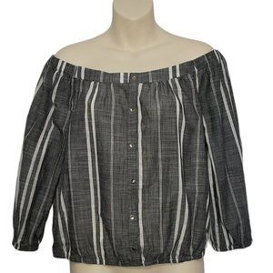 10/$30 DYNAMITE striped off the shoulder top NEW